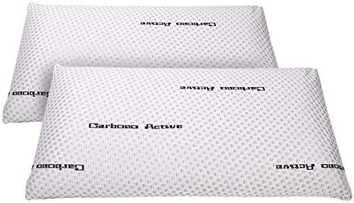 elalmacendelcolchon Pack de 2 Almohadas Viscoelástica Modelo Carbono Perforada, Máxima Adaptabilidad, Blanca - 70 cm - Otras Medidas Disponibles
