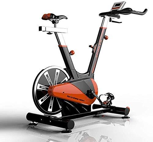 Bicicleta estática de interior, entrenamiento de fitness, cardio, para uso doméstico, con gran volante, equipo de fitness, entrenamiento de fitness, entrenamiento de cardio, color verde y naranja