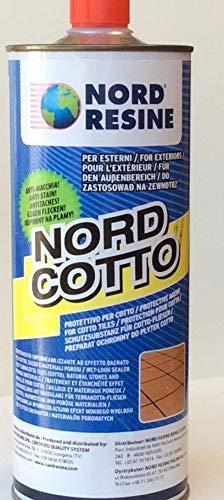 NordCotto di NordResine. Trattamento idrorepellente, effetto bagnato, per pavimenti, in cotto, 1L