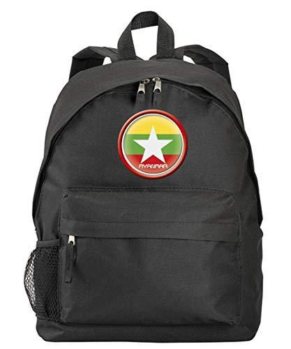 Myanmar Birmar-Rucksack, schwarz, mit Flagge, Wappen, mit Reißverschlusstaschen und Trägern