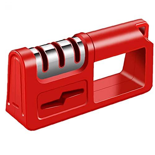 DierCosy Tools Afilador de Cuchillos 4 en 1 afilador de Cuchillos, 4 Manual Etapa afilador de Cuchillos Afilador de Tijeras con Base Antideslizante para afilar Cuchillos de Cocina, Tijeras Rojo