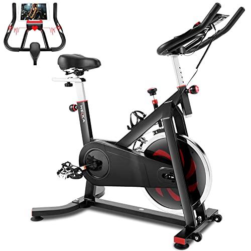 Heka Heimtrainer Fahrrad mit 18 kg Schwungrad, Spinning Bike indoor, Hometrainer für zu Hause, Fitnessbike mit Pulsmesserr & LCD-Display, Bis 200 kg, Sitz & Widerstand Einstellbar Ergometer (Schwarz)