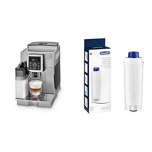 De'Longhi ECAM 23.466.S Kaffeevollautomat mit Milchsystem, Großer 1,8 Liter Wassertank, silber & Original Wasserfilter DLSC002 - Zubehör für De'Longhi Kaffeevollautomaten, weiß