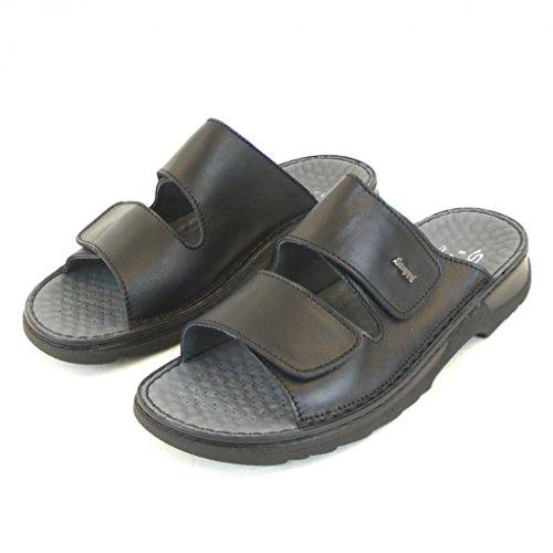 Stuppy Herren Schuhe Pantoletten echt Leder schwarz 10945 Fußbett auswechselbar, Größe:43 EU