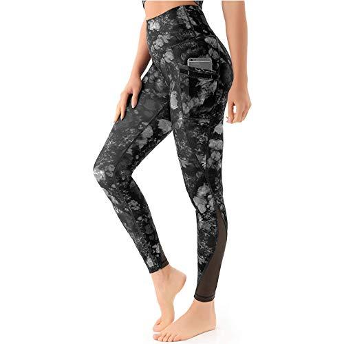 MEIbax Mujer Mallas para Yoga Fitness Leggings de Mujer Push Up Leggings de Burbuja Jacquard Empalme Yoga Leggings de Cintura Alta Leggings Mallas de Yoga Elásticos Pantalones Deportivos Running Gym