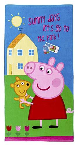 Peppa Wutz Peppa Pig Handtuch Badetuch Sunny Days Let's go to The Park Spruch, 70 x 140 cm für Kinder, Jungen und Mädchen, 100% Baumwolle