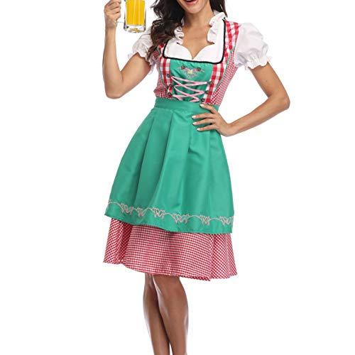 ZZLBUF Disfraz de fiesta de cerveza alemana para mujer de Baviera, tradicional Oktoberfest, Halloween, fiesta de sirvienta, a cuadros