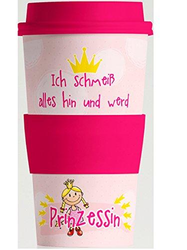 Bada Bing Becher to Go Spruch Prinzessin Natürliche Bambus Faser MehrweOrganic Öko Kaffeebecher 350ml Geschenkkarton 55