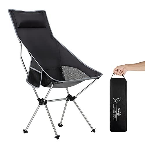 Naturehike Leicht Klappstuhl mit Rückenkissen Campingstuhl Ultraleichter und Klappbarer mit Transporttasche zum Angeln Wandern Reisen(Silber)