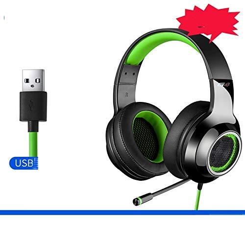 Zhangmeiren Ecouteur Téléphone Ordinateur De Bureau Casque for Écouter Le Son Bit Identifié Casque De Réduction du Bruit avec Un Câble USB De Haute Qualité Spéciale (Color : Green)