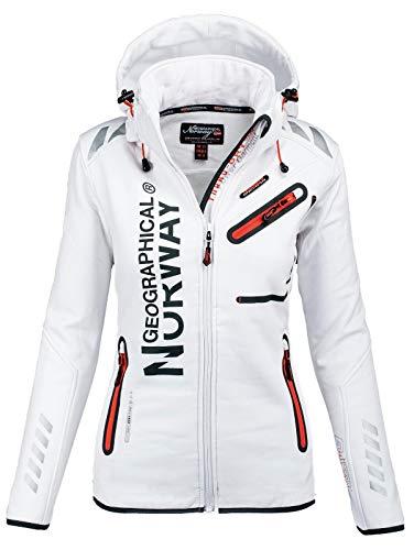Geographical Norway Damen Softshell Funktions Outdoor Regen Jacke Sport [GeNo-24-Weiss-Gr.XL]