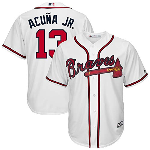 YQSB Jersey Baseball Baseball League Atlanta Braves # 13 Acuña Jr. Baseball-Trikot,White,Men-XL