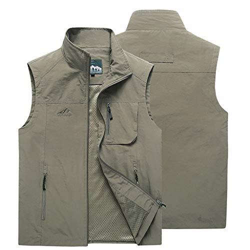 HLD 2019 Nuevo chaleco de ocio for hombre, de verano, multibolsillo, chaqueta de color sólido sin mangas, chaleco extra rápido for hombre. Chalecos (Color : Khaki, Size : XL)