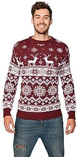 New Camp Ltd New Unisex Mens Womens Jumper Christmas Xmas Novelty Retro Fairisle Santa Party Sweater Jumpers Nordic Wine E...