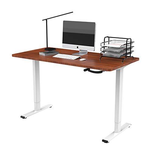 Flexispot Höhenverstellbarer Schreibtisch mit Tischplatte. (Weiß+Mahagoni, 140 x 70 cm)