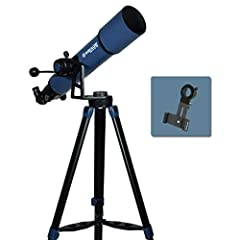 102mm Acromatic Refractor Telescope with Smart Phone Imaging Adapter Apeture 102mm/ Focal length 660mm, Focal Ratio f/6.5 Low (26mm), medium (9mm), high (6.3mm) magnification eyepieces & 2x Barlow lens doubles the magnifying power of each eyepiece Al...