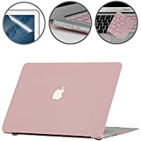 i-Buy Funda Dura Case Compatible con MacBook Air 13 Pulgadas Model A1369 A1466 (Versión 2010-2017) + Teclado Cubierta + Protector de Pantalla + Enchufe del Polvo - Cuarzo Rosa