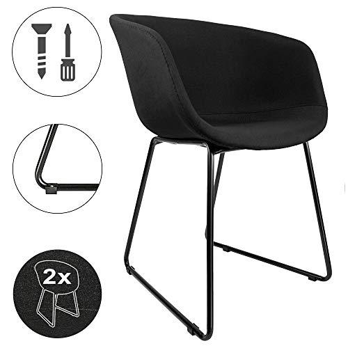 Cepewa - Juego de 2 sillas de comedor con reposabrazos, estructura de metal estable, asiento acolchado con superficie de asiento acolchada, silla de cocina, sillas acolchadas, color negro o gris