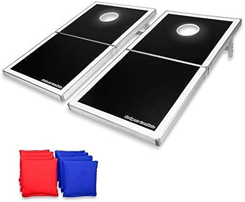 GoSports Cornhole PRO Sitzsack Wurfspiel-Set – faltbar (amerikanische Flagge, LED, Schwarz Rot und Blau)