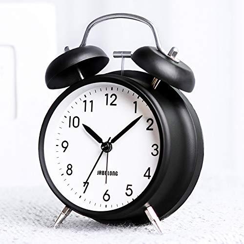 Bestcool Reloj Despertador de Doble Campana con luz de Noche, reloj despertador retro silencioso Reloj despertador vintage Reloj despertador ruidoso para personas que duermen mucho, negro (3 pulgadas)