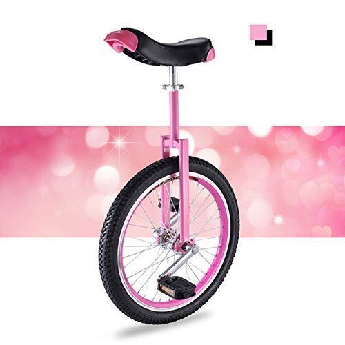 """HWF Einrad Mädchen/Kinder/Erwachsene/Frauen Trainer Einrad, 16\""""/ 18\"""" / 20\""""Rad Einrad Laufrad Trainingsfahrrad für Alter 9 Jahre & Mehr (Color : Pink, Size : 20 Inch Wheel)"""