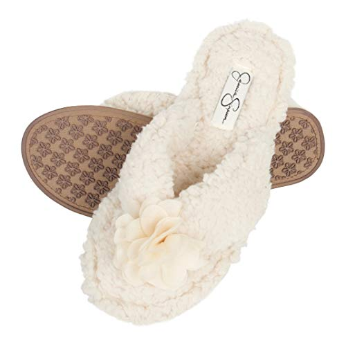 Jessica Simpson Women's Fluffy Pom Thong House Slide on Slippers with Memory Foam, Ivory, Small