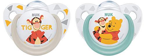 NUK Disney Winnie Silikon-Schnuller, kiefergerechte Form, 6-18 Monate, 2 Stück, Boy, weiß