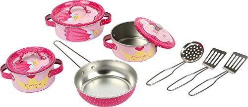 8970 Servizio stoviglie «Josephine» small foot in metallo rosa, accessori per la cucina da gioco per bambini, 10 pz., a partire da 3 anni