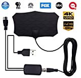 HaiSea 4K TV Antenna, Indoor Digital Amplified HD Antenna up 60 to 80 Miles Range with Switch Amplifier Signal Booster for Free Local Channels 4K 1080P and All Older TV's -13ft Coax Cable