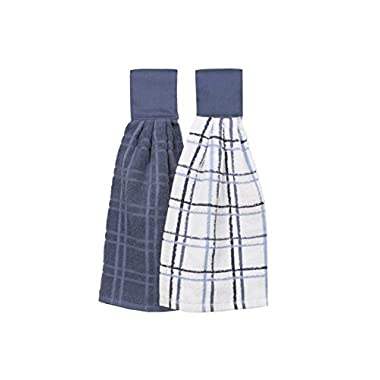 Ritz Kitchen Wears 100% Cotton Hanging Tie Towels, 2 Pack Checked And Solid, Federal Blue, 2 Piece