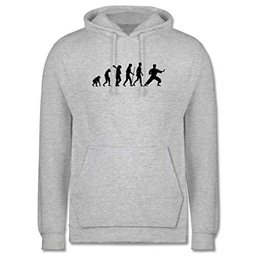 Shirtracer Evolution - Kampfsport Evolution - 5XL - Grau meliert - Karate Pulli - JH001 - Herren Hoodie und Kapuzenpullover für Männer