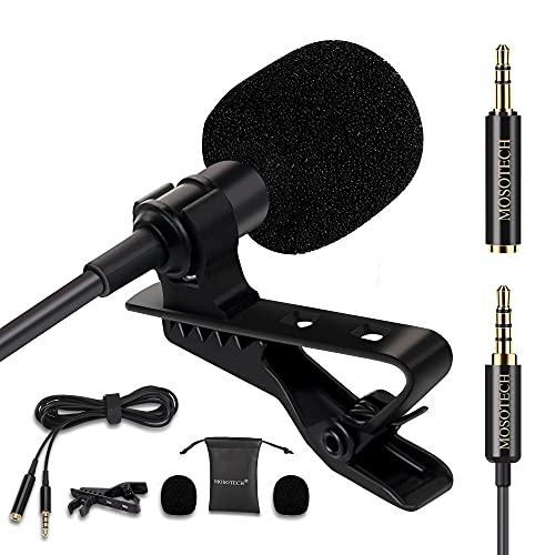 Mosotech Microfono Lavalier, Microfono a Condensatore Omnidirezionale con Clip e 2m Cavo di Prolunga, Microfono Professionale per iPhone/iPad/Android/PC/Windows/Fotocamera/Tavoletta