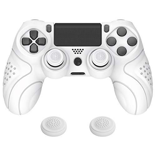 PlayVital Funda de Silicona para PS4 Protector de Piel Carcasa Blanda Antideslizante con 2 Tapas de Joysticks para Playstation 4 Funda de Goma para Dualshock 4 PS4 Control(Edición Guardian-Blanco)