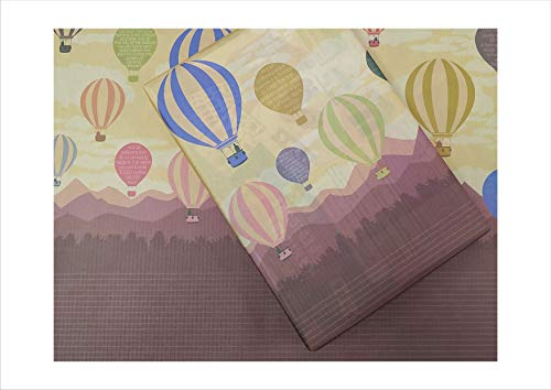 eVincE 10 Gift Wrapping Paper | hot air Balloon Fun Birthday Party Toddlers Children Christmas Hanukkah New Year Gifts Wrappers Large Recyclable 50 x 70 cms Scrapbook