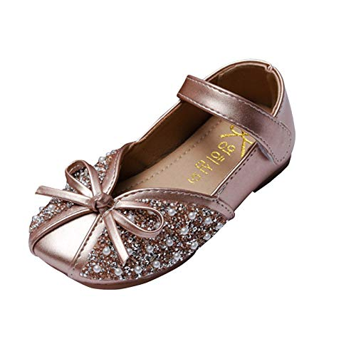 Ghemdilmn Zapatos de princesa para niños y niñas, con perlas, lentejuelas, mariposa y mariposas, pequeños zapatos de piel para fiestas, zapatos de cristal dorado 6.5-7 años