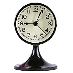 Danse Jupe 3 Alarm Clock Round Quartz Analog Desk Clock Vintage Silent Non Ticking Battery Operated for Bedroom Black