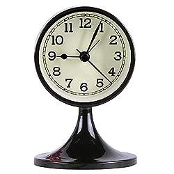 Danse Jupe 3 Alarm Clock Round Quartz Analog Desk Clock Vintage Silent Non Ticking Battery Operated for Bedroom Black
