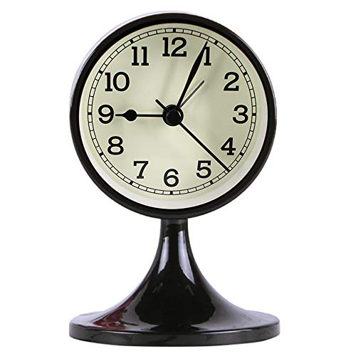 Queena Retro Round Silent Alarm Clock Non-Ticking Battery Operated Desk Clock for Bedroom Black