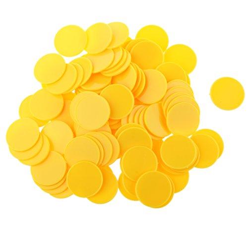 Hellery 100pcs Gioco di Tavolo Gettoni Monete Plastica per Tavolo Bambini in Famiglia Giocattoli Fai da Te - Giallo