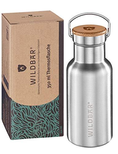 WILDBÄR® - NEU - Premium Edelstahl Thermo Trinkflasche 350ml, BPA-freie auslaufsichere Thermosflasche mit Bambuseinlage im Deckel, zweiwandige Trinkflasche für Kinder, Uni, Büro, Camping Zubehör