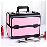 WUQIN Estuche de cosméticos Grande de 4 bandejas Estuche de tocador de Belleza Profesional, Estuche de Maquillaje con Esponja amortiguadora y divisores Ajustables,Pink2