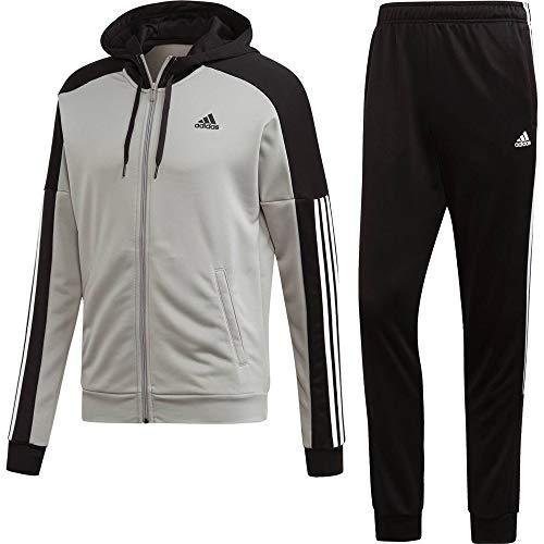 adidas MTS Game Time, Tuta Uomo, Medium Grey Heather/Nero/Bianco, XL