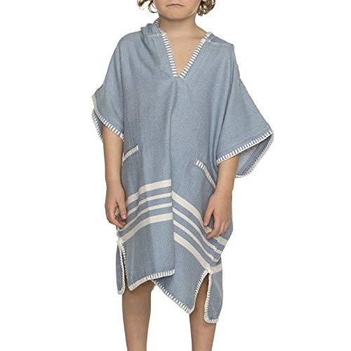 Kinder Strandponcho Hamam Air Blue - Leeftijd 2-3 jaar - kinderponcho - badponcho - strandcape - badcape - Leeftijd 2-3 jaar - jongens/meisjes/unisex pasvorm - poncho handdoek voor kinderen met capuchon - zwemponcho - badcape