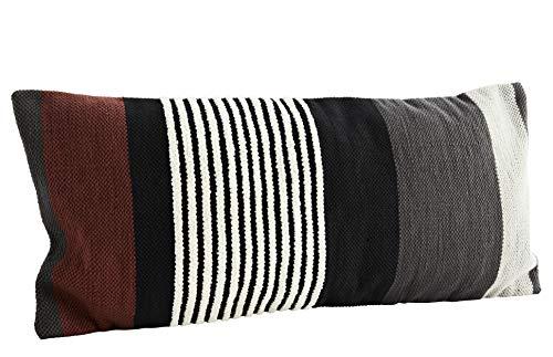 Madam Stoltz Funda de cojín (40 x 90 cm, algodón y viscosa), diseño de rayas, color blanco, negro, gris y rojo oscuro