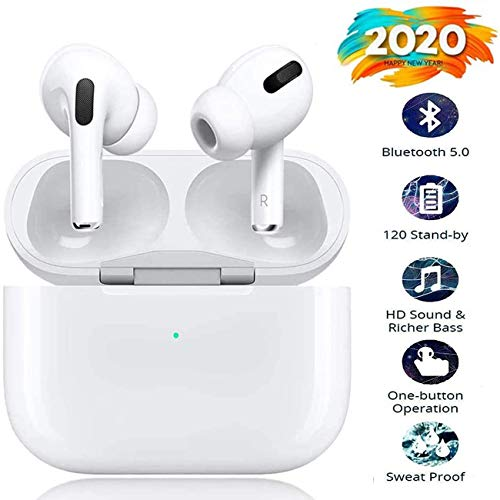 Cuffie senza fili Bluetooth, cuffie intrauricolari stereo senza fili 3D con funzione impermeabile IPX5, accoppiate automaticamente per chiamate binaurali, adatte per AirPods iPhone/Android/Apple