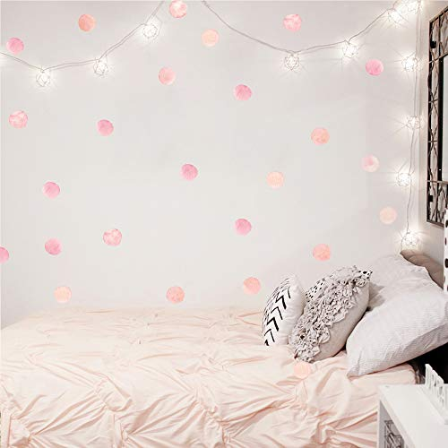 Watercolor Polka Dot Wall Decals Pink Dots Wall Sticker for Kids Baby Girls Living Room Bedroom Playroom