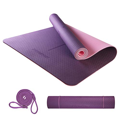 """PROIRON Yoga Mat Large Exercise Mat 72""""x 31"""" Eco Friendly TPE Non-Slip Double-Sided Gym Mat Tear Resistant with Carry Strap Thickness 6mm, for Yoga Pilates and Floor Exercises(Purple+Pink) from Shanxi Regent Works Inc."""