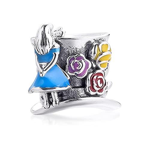Gflyme Abalorio de plata 925 para fiesta de té de primavera y el sombrero loco, ideal para pulseras Pandora originales