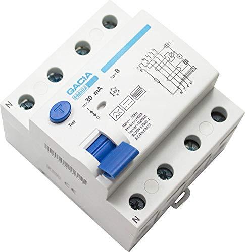 FI-SCHALTER Fehlerstromschutzschalter FI-Schutzschalter 4P 40A 30mA TYP B GACIA