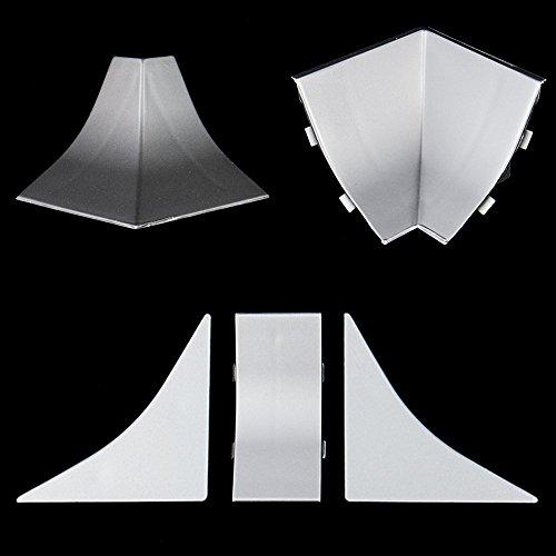 KÜCHENABSCHLUSSLEISTE Zubehörteil Innenecke ALUMINIUM SILBER Abschluss passend zum Dekor Ihrer Tischplattenleisten Küchen Arbeitsplatten PVC Leiste